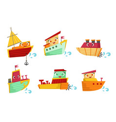 Flat set of small wooden boats with cute vector