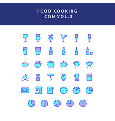 food cooking icon set filled outline set vol 3 vector image