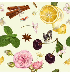 Fruit tea seamless pattern vector