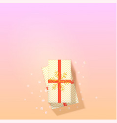 Gift box on trendy gradient background top down vector