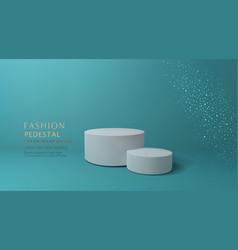 Green minimal scene podiumfor cosmetic product vector