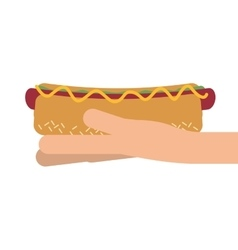 Hand holding hot dog icon vector