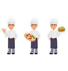 handsome baker in professional uniform vector image