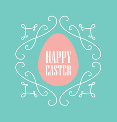 happy easter festive card with floral line art vector image