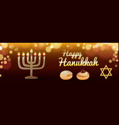 happy holiday hanukkah banner realistic style vector image