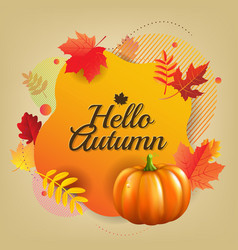 Hello autumn banner with leaves vector