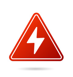 High voltage icon bolt warning triangular red vector