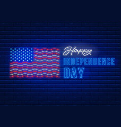 independence day neon sign vector image