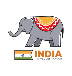 India travel symbol of indian elephant vector
