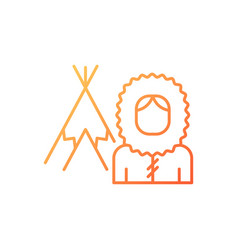 Inuit population gradient linear icon vector