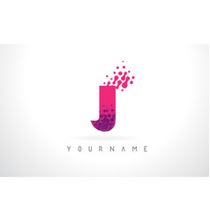 j letter logo with pink purple color and vector image
