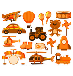 Large set different objects in orange vector