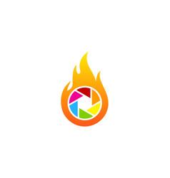 lens fire logo icon design vector image