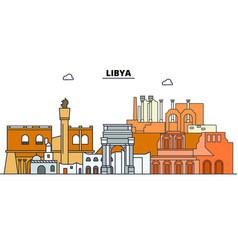 Libya line skyline libya vector