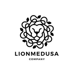 lion medusa gorgona logo icon vector image