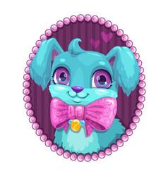 Little cute cartoon blue fluffy dog portrait vector