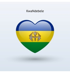 Love KwaNdebele symbol Heart flag icon vector image