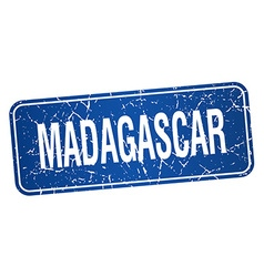 Madagascar blue stamp isolated on white background vector