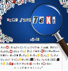 magnifier with set letters vector image