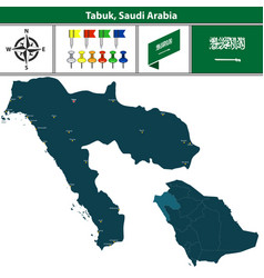 Map of tabuk saudi arabia vector
