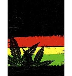 Marijuana silhouette Rastafarian flag grunge vector