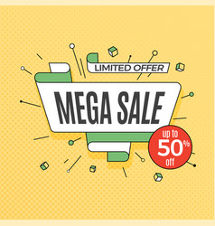 Mega sale retro design element in pop art style vector