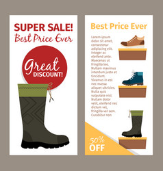Men autumn boots vertical flyers vector