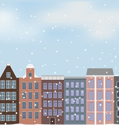 old European city and snow vector image