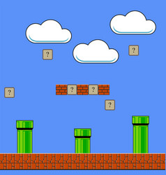Old game background classic arcade design with vector