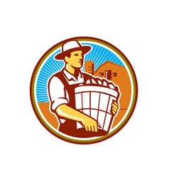 Organic Farmer Harvest Basket Circle Retro vector image