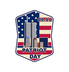 Patriot day badge emblem with buildings and vector