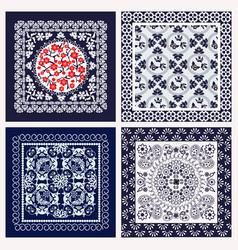 Patterns set ornament paisley bandana print vector