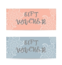 Pink and blue Gift voucher template with lace vector