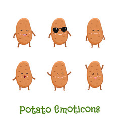 Potato smiles cute cartoon emoticons emoji icons vector