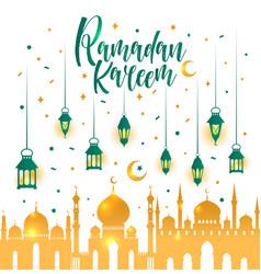 Ramadan kareem islamic with 3d cute vector