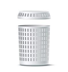 Realistic 3d empty white laundry basket vector