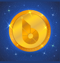 Realistic gold bitshares icon in space vector