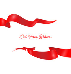 red ribbons horizontal banners set isolated vector image