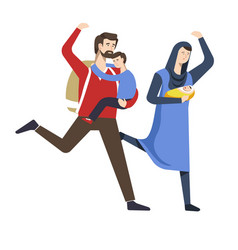Refugees running from country arab family with vector