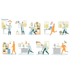 Research scientist and chemistry laboratory set vector