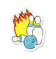 Retro distressed sticker of a ten pin bowling vector