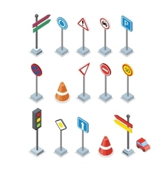 Road and Street Signs set Warrnings Billboards vector image