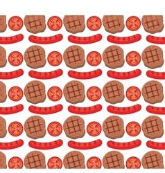 sausage grill invitation pattern background vector image
