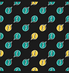 seamless pattern with info icon on black vector image