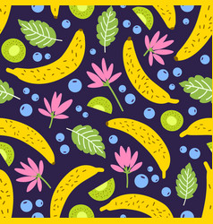 Seamless pattern with tropical blooming flowers vector