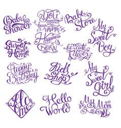 Set for bashower hand drawn phrases for design vector