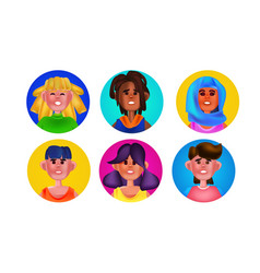 set male female heads in round frames mix race vector image