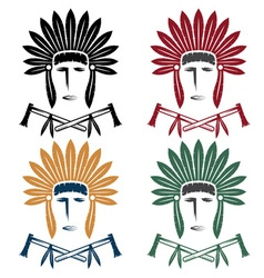 set native american chief man in tribal vector image