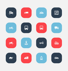 set of 16 editable transportation icons includes vector image