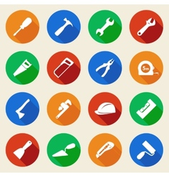 Set of construction tools icons in flat style vector